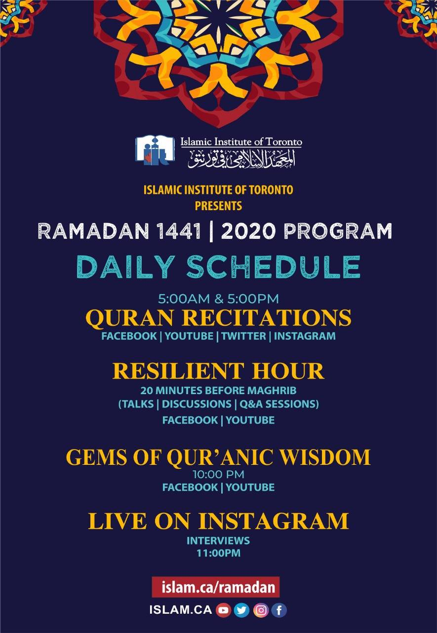 Daily Ramadan Schedule - morning recitation at 5 am, resilient hour talk 20 minutes before maghrib, gems of quranic wisdom at 10 pm, live on instagram at 11 pm
